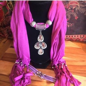 Jeweled Scarf set, Pink and Silver